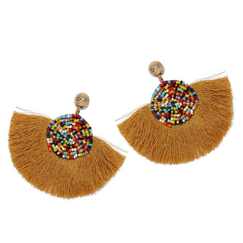 Tan Geometric Fan Shaped Fringe Earrings