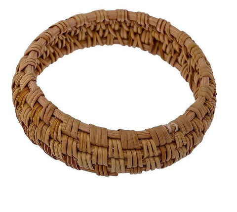 Straw and Wooden Bangle Bracelet