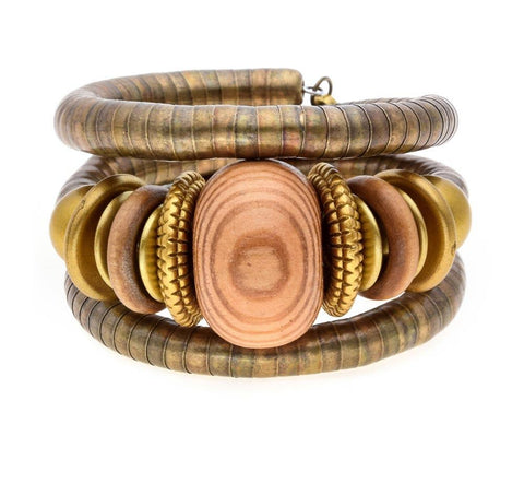 Bronze Wood Stone Bangle Bracelet