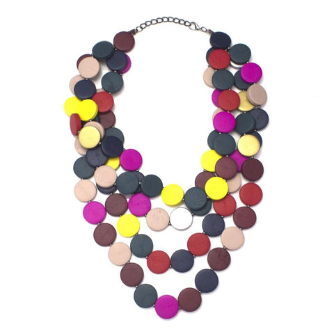 Beaded Wood Fashion Statement Necklace
