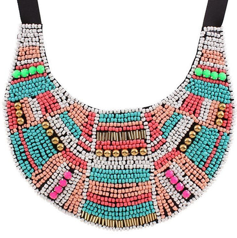 Bead and Stud Statement Necklace