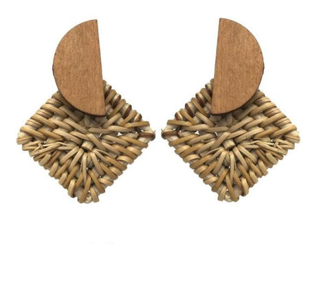 Straw and Wooden Fashion Statement Earrings