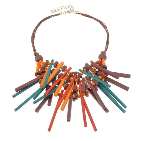 Geometric Wood Statement Necklace