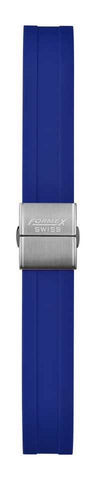 Rubber strap blue (with steel folding clasp)