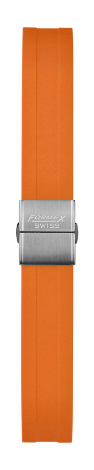 Rubber strap orange (with steel folding clasp)