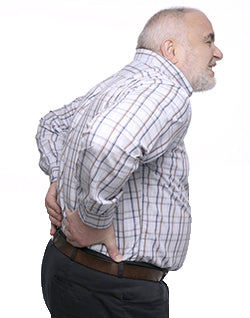 Old man suffering from back pain