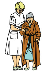 Nurse helping elderly walk