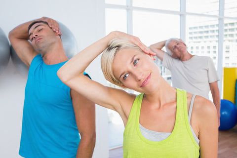 3 people doing neck exercise