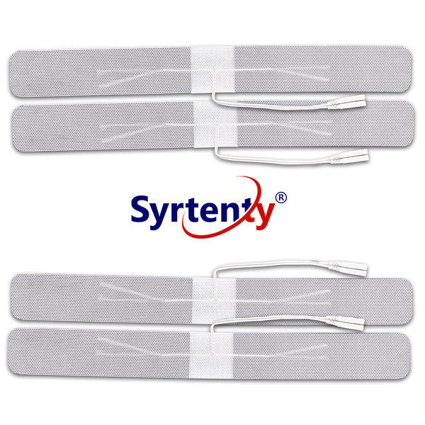 "Syrtenty-""TENS Unit Pads -  Pigtail Long Strip 1.5x13 inch 4pcs Electrodes"""
