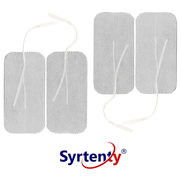 "Syrtenty-""TENS Unit Pads -  Pigtail Rectangle 2x4 inch 4pcs Electrodes"""