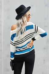 Loose Fit Striped Pattern Sweater