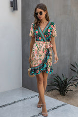 V Neck Floral Printed Mini Dress