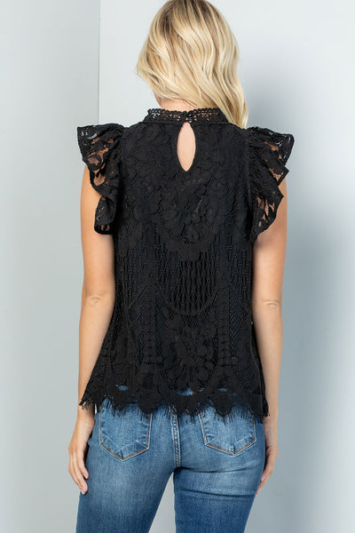 MOCK NECK RUFFLED CAPSLEEVE LACE TOP