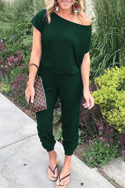 Off Shoulder Pocket Jumpsuit