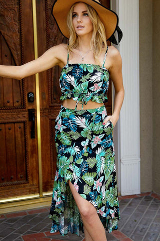 Tropical  Leaf  And  Floral  Crop Top with Maxi Skirt