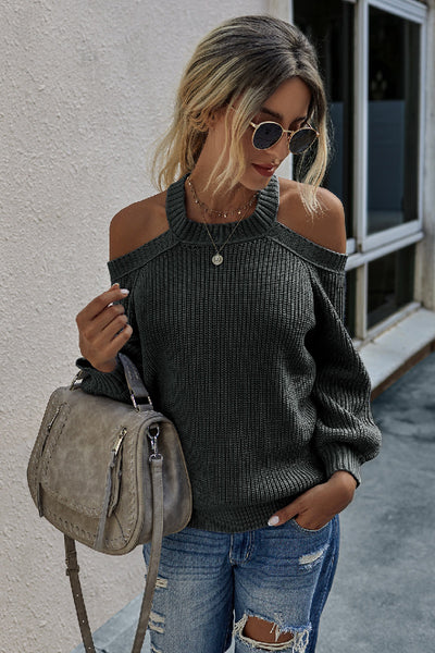 Solid Long Sleeve Loose Knit Sweater