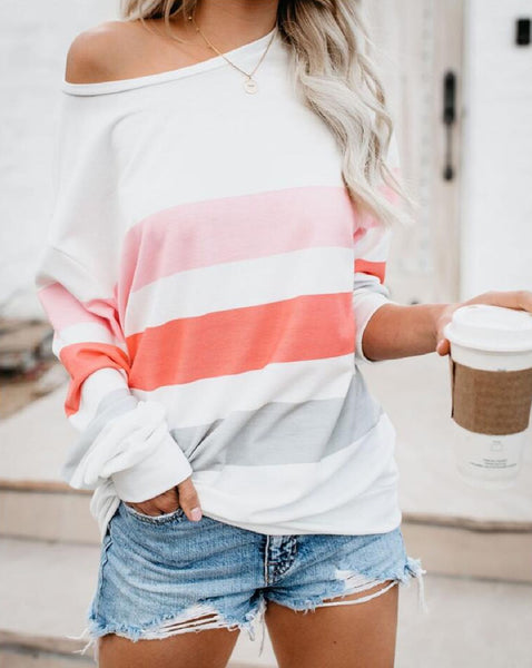 Striped Off The Shoulder Sweatshirt