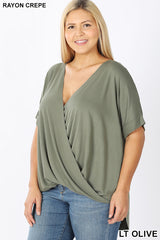 Plus Size Rayon Span Crepe Layered Look Shirt