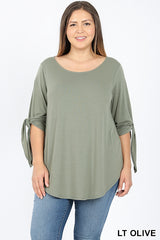 Plus size Split Self Tie Half Sleeve Shirt