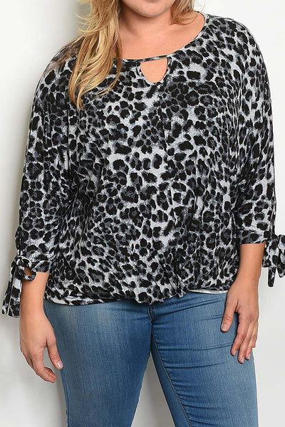 Animal Print Tie Sleeve Blouse