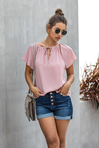 Solid Color Short Sleeve Causal Top
