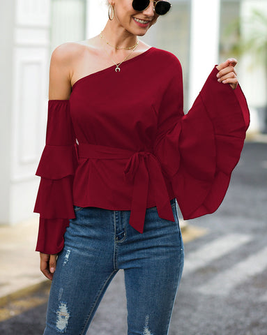 ONE SHOULDER RUFFLED BLOUSE