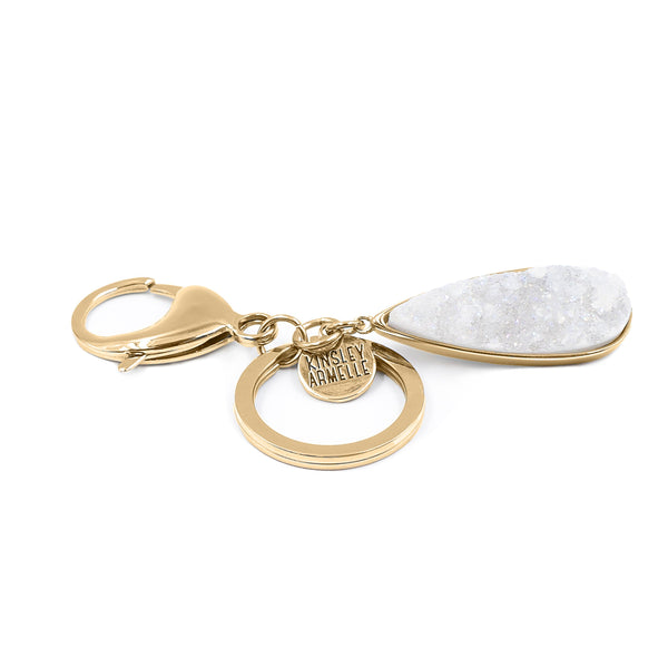 Kinsley Armelle/GOLD QUARTZ DROP KEYCHAIN