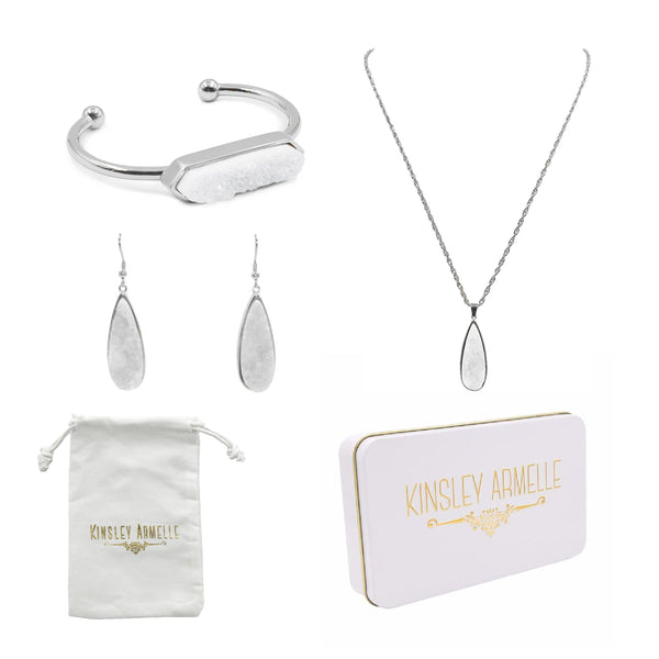 Kinsley Armelle/DRUZY WHITE SILVER QUARTZ GIFT SET