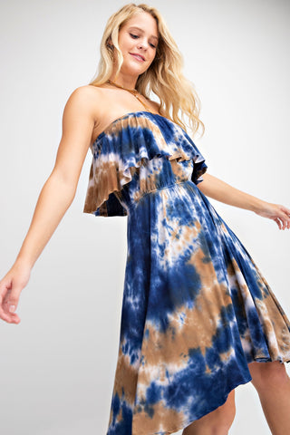 Tie Dye Ruffled Midi Strapless Dress