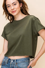 Crew  Neck Short  Sleeve Cropped Shirt