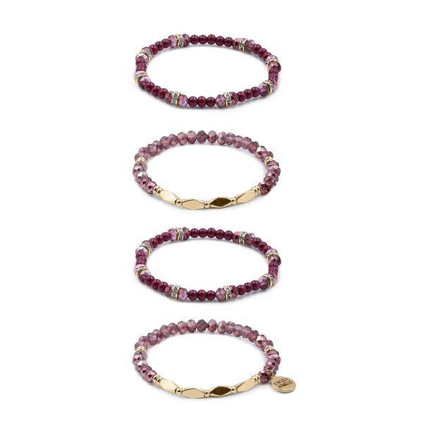 Kinsley Armelle/SILVER RASPBERRY WINE BRACELET SET