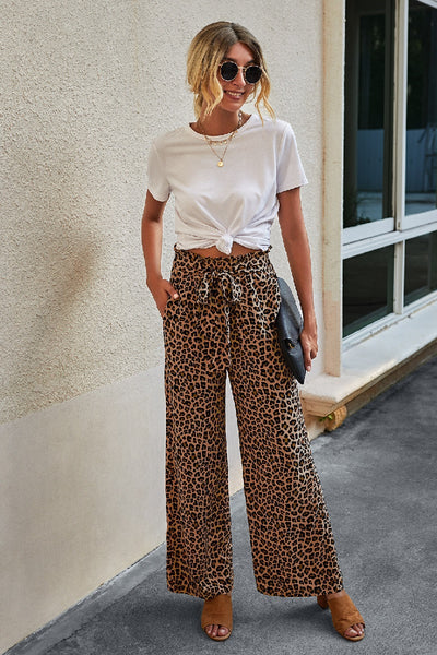 Animal Print Wide Leg Drawstring Pants