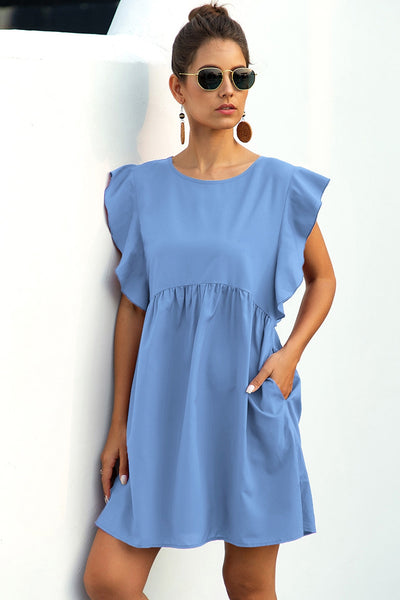 Round Neck Ruffle Peplum Short Dress
