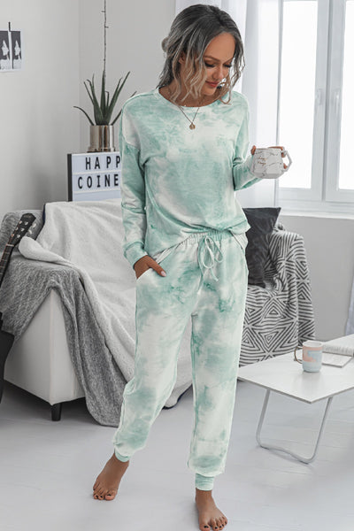 Tie Dye Comfy Round Neck Solid Loungewear Set