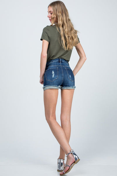 Distressed High Waisted Cuffed Shorts