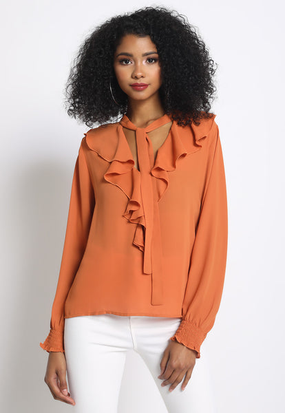 Ruffle Blouse With Tie