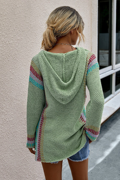 Scoop Neck Solid Knit Loose Hoodie