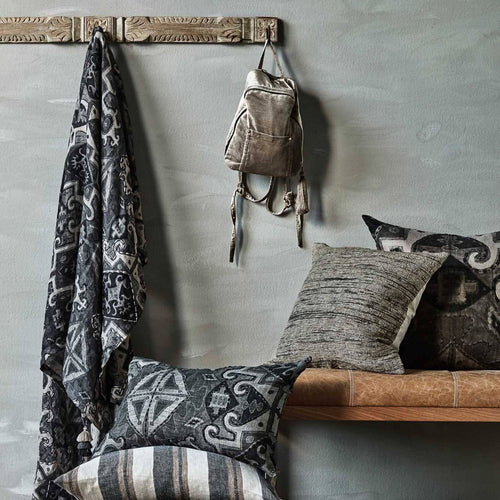 ekso european linen tassel throw slate by eadie lifestyle