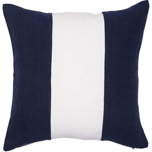 applique cushion feather insert linen navy white 3 panelled cushion by Eadie Lifestyle