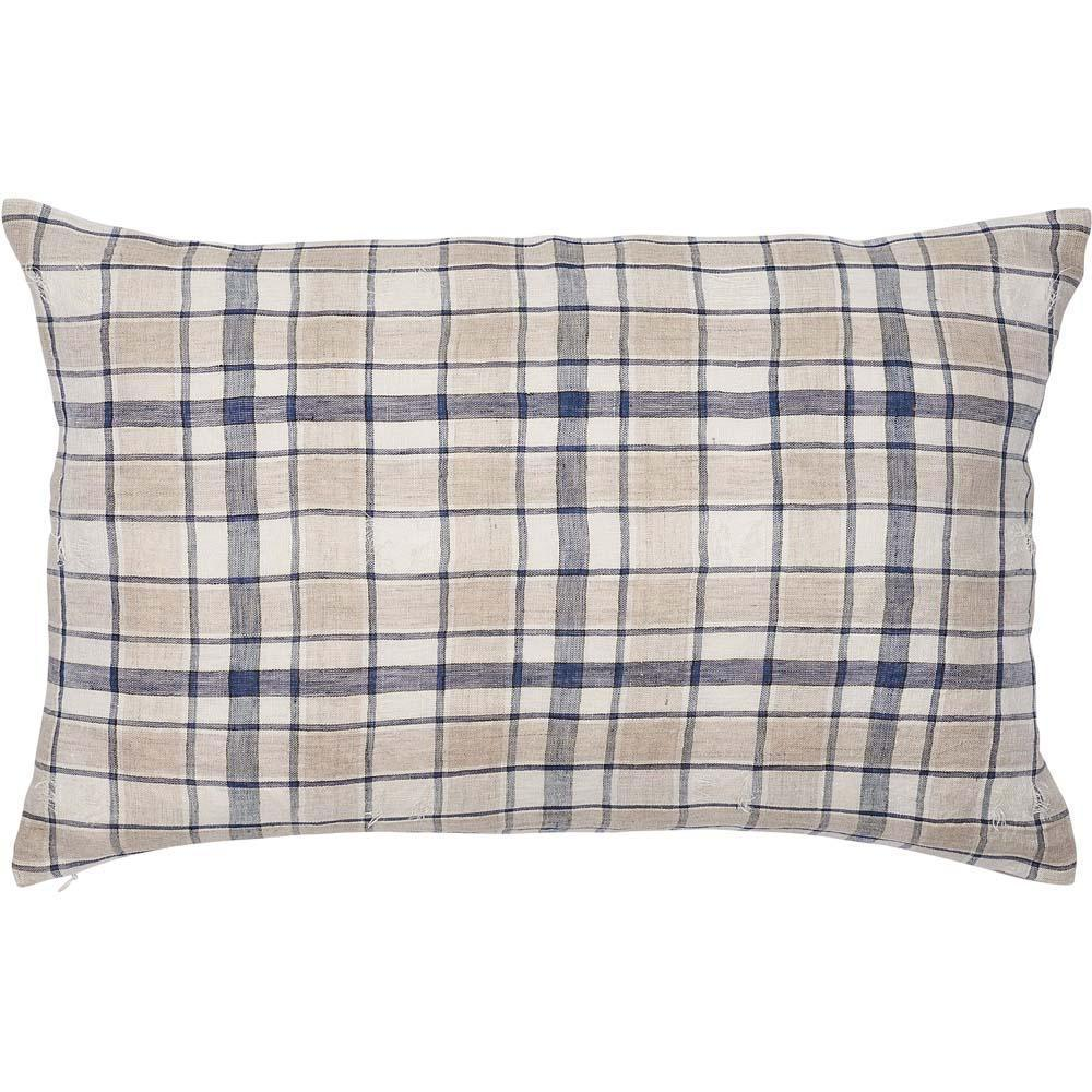 caddy cushion linen check white navy natural square by eadie lifestyle