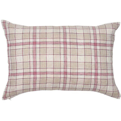 caddy cushion linen check white rose pink natural square by eadie lifestyle
