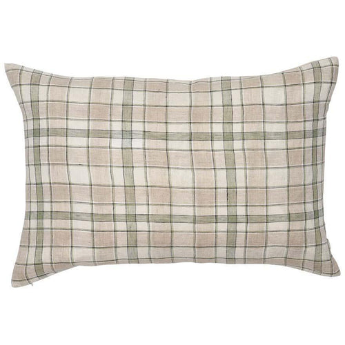 caddy cushion linen check white sage green natural square by eadie lifestyle