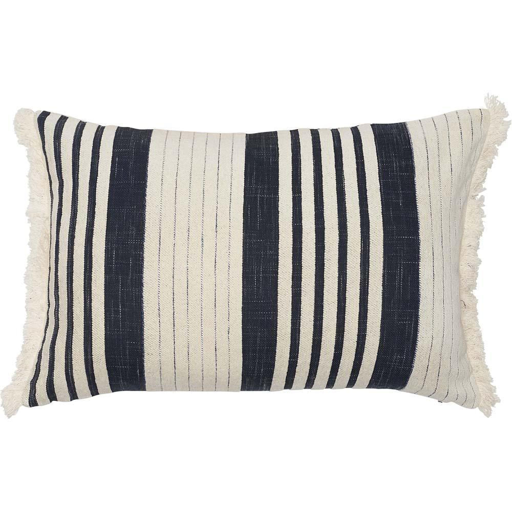 chilled cushion chenille stripe with fringe feather insert by eadie lifestyle