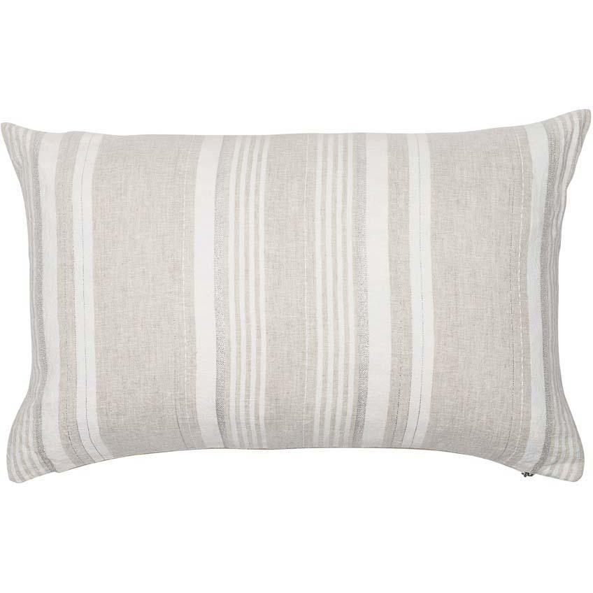 dew drop cushion linen stripe with fine silver lurex feather insert by eadie lifestyle