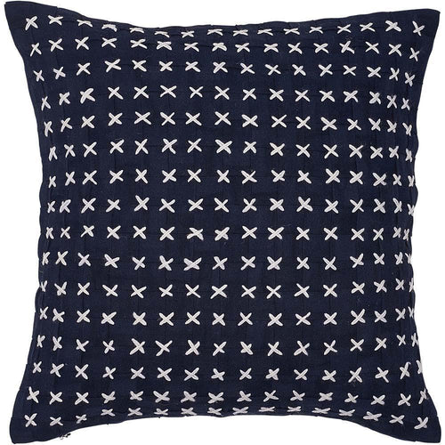 flette cushion basket weave cross stitched finish plump feather insert navy by eadie lifestyle