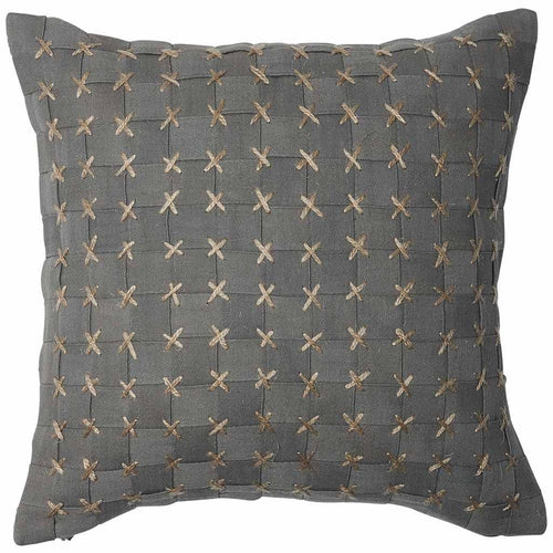 flette cushion basket weave cross stitched finish plump feather insert slate by eadie lifestyle