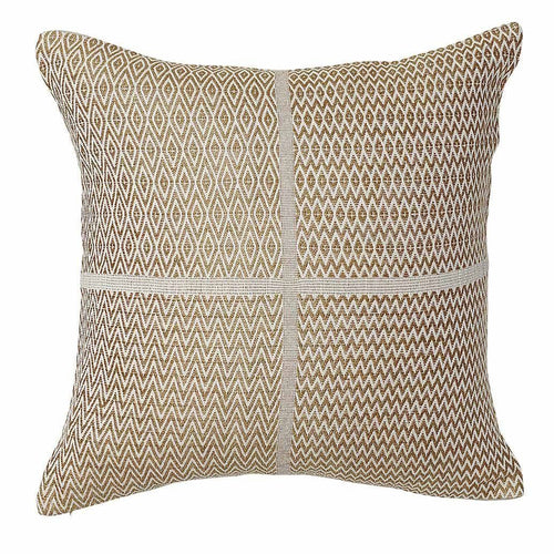 honning cushion cotton linen diamond zigzag finish plump feather insert mustard by eadie lifestyle