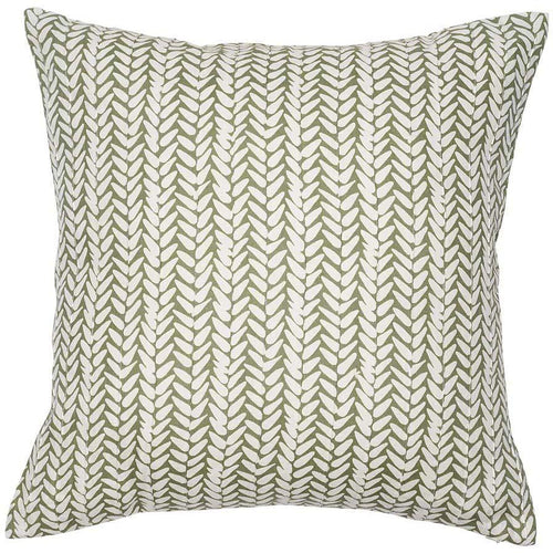 leaf cushion linen hand screen print feather insert sage white square by eadie lifestyle