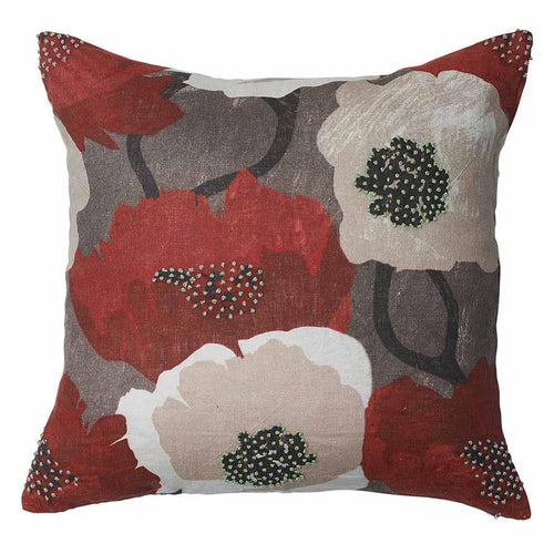 leap cushion linen digital floral print finish plump feather insert by eadie lifestyle