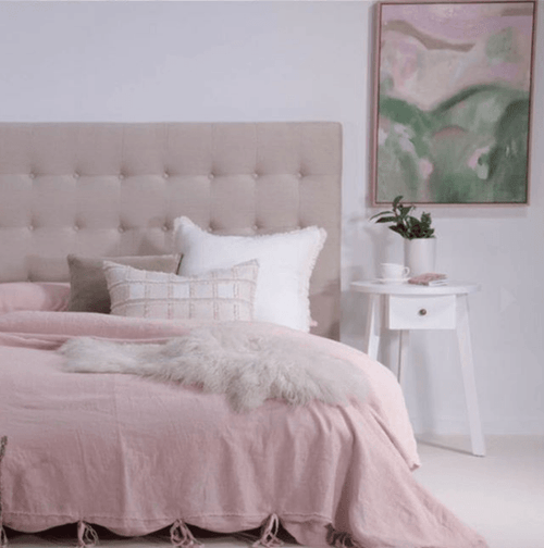 linen duvet set frayed edge tie closers soft pink by eadie lifestyle